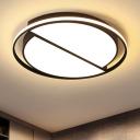 Black Half Round Flush Mount Lighting with Ring Modern Design Acrylic LED Lighting Fixture