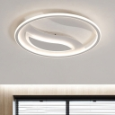 Acrylic Circular Flush Mount Nordic Style Eye Protection LED Ceiling Fixture in White for Kids Room