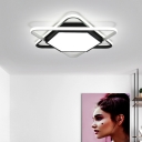 Hexagon Ceiling Fixture with 2 Triangle Frame Simplicity Metal LED Flush Mount Light in Warm/White