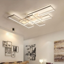 White Linear Semi Flush Mount Lighting Modern Design Metal LED Lighting Fixture for Coffee Shop