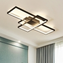 Black 3 Rectangle Frame Flush Light Nordic Style Metal LED Ceiling Light for Dining Room