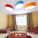 Colorful Minimalist Oval Shape Flush Light Living Room Metal LED Ceiling Fixture