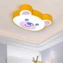 Acrylic Shade Ceiling Fixture with Cute Bear Yellow Decorative LED Flush Mount Light for Kids