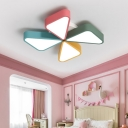 Nursing Room Windmill Flushmount Metallic Decorative LED Ceiling Fixture in Multicolor