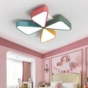 Nursing Room Windmill Flushmount Metallic Decorative LED Ceiling Fixture in Multicolor