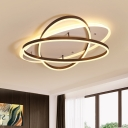 Metal Ellipse LED Ceiling Fixture Contemporary Decorative Flush Mount in Warm/White