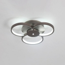 Metal Floral Semi Flush Light Nordic Style 3/5/6 Heads LED Ceiling Lamp in Warm/White