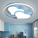 Acrylic Flush Light Fixture with Loving Heart Black/Blue/Pink LED Ceiling Light for Sitting Room