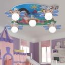 5 Lights Bee Flush Mount Light Modern Kindergarten Glass Shade Ceiling Lamp in White