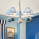 Tapered 5 Lights Hanging Light with Fish Blue Fabric Shade Chandelier Lamp for Bedroom