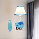 Blue Helicopter Wall Mount Fixture Fabric Shade Single Head Wall Sconce for Boys Room
