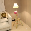 Colorful Strips Shade Floor Lamp with Horse Nursing Room Fabric Shade Single Light Lighting Fixture