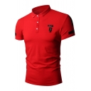 Summer Simple Patched Short Sleeve Solid Color Regular-Fit Polo Shirt