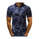 Men Unique Irregular Stripe Short Sleeve Three-Button Stretch Polo Shirt
