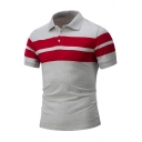 Men Fashion Striped Short Sleeve Turn-Down Collar Regular-Fit Polo T-Shirt
