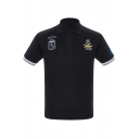 Fashion Striped Trim Popular Air Force One Logo Embroidery Classic-Fit Polo Shirt for Men