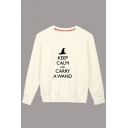 Harry Potter Letter KEEP CALM AND CARRY A WAND Print Crewneck Long Sleeve Cotton Sweatshirt