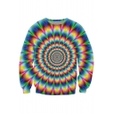 Cool 3D Whirlpool Floral Printed Crewneck Long Sleeve Pullover Sweatshirt