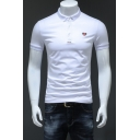 Heart Shaped Bee Embroidery Basic Short Sleeve Cotton Slim Fit Business Polo for Men