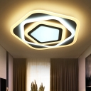 Energy Saving Pentagon Flush Light Contemporary Acrylic Art Deco LED Ceiling Lamp in Warm/White