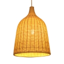 Weave Basket Ceiling Pendant Light Simple Concise Single Light Hanging Light Fixture in Beige