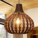 Brown Gourd Hanging Lamp Natural Modern Rattan 1 Bulb Indoor Lighting Fixture for Sitting Room
