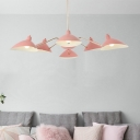 Multi Light 6 Arm Chandelier Lamp with Metal Shade Macaron Modern Hanging Light Fixture in Pink