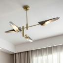 4 Lights Linear Chandelier Lighting Post Modern Metal Art Deco Indoor Lighting Fixture in Brass