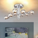 Multi Light Modo Semi Flush Light Post Modern Smoke Glass Shade Ceiling Lamp in Chrome for Bedroom