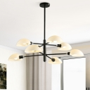 Linear Chandelier Lamp with White Glass Shade Contemporary 8 Heads Indoor Lighting Fixture