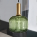 Ribbed Glass Geometric Hanging Light Simplicity Single Light Ceiling Pendant Light in Brass Finish