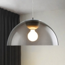 Single Light Semicircle Pendant Lamp Minimalist Height Adjustable Smoke Acrylic Shade Hanging Light