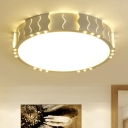 Acrylic Shade Drum LED Flush Light Modern Fashion Surface Mount Ceiling Light in White for Hallway