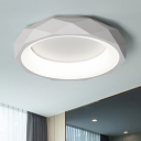 White Circular Ring Ceiling Lamp with Geometric Pattern Modernism Acrylic LED Flush Mount for Corridor