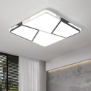 Modern Chic Squared LED Flushmount with Geometric Pattern Acrylic Ceiling Lamp in Warm/White