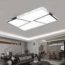 Metallic Rectangle Flush Mount with Geometric Pattern Simple Concise LED Lighting Fixture in Black and White