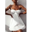 Summer Simple Plain Bow-Tied Straps White Mini A-Line Cami Dress