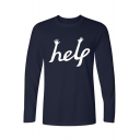 Funny Hand Letter HELP Print Basic Round Neck Long Sleeve Cotton T-Shirt