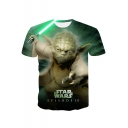 Star Wars Yoda 3D Printing Short Sleeve Round Neck Regular-Fit Green T-Shirt