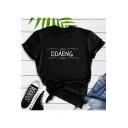 New Stylish Letter DDAENG Print Street Style Black Short Sleeve T-Shirt