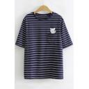 Cartoon Cat Embroidered Pocket Round Neck Short Sleeve Striped T-Shirt