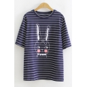 Cute Cartoon Rabbit Pattern Loose Relaxed Cotton Striped T-Shirt