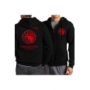 Game of Thrones Fashion Print Long Sleeve Fitted Zip Up Black Hoodie