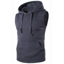 Basic Simple Plain Sleeveless Loose Fit Cotton Vest Hoodie for Men