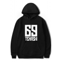 American Rapper Unique Letter Number 69 Printed Basic Long Sleeve Casual Loose Hoodie