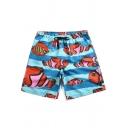 Men's Summer Tropical Fish Print Drawstring Waist Quick-Dry Beach Blue Swim Trunks