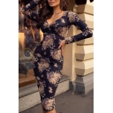 Women's Retro Floral Printed V-Neck Long Sleeve Sexy Bodycon Navy Midi Dress