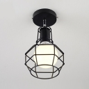 Open Bulb Ceiling Lamp with Black Wire Cage Retro Style Metal 1 Light Lighting Fixture for Dining Room