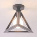 Pyramid Ceiling Light with Blue/Gray/Green Metal Frame Minimalist Modern 1 Head Semi Flush Light Fixture