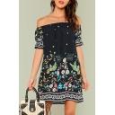 Boho Style Fashion Floral Printed Off The Shoulder Short Sleeve Mini Navy Shift Beach Dress